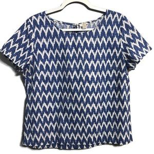 J. Crew Linen Blend Chevron Patterned Blouse M